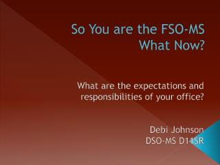 So You are the FSO-MS What Now?