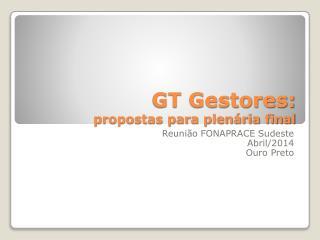 GT Gestores: propostas para plenária final