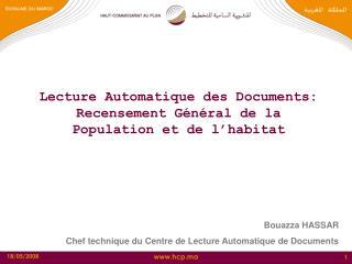 Lecture Automatique des Documents: Recensement Général de la Population et de l'habitat