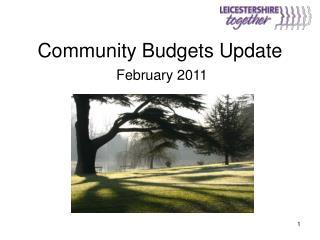 Community Budgets Update