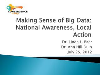 Making Sense of Big Data: National Awareness, Local Action