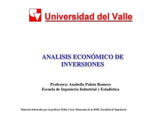 ANALISIS ECON�MICO DE INVERSIONES