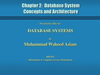 Chapter 2:  Database System Concepts and Architecture