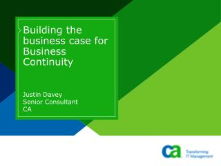 Building the business case for Business Continuity