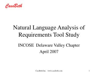Natural Language Analysis of Requirements Tool Study
