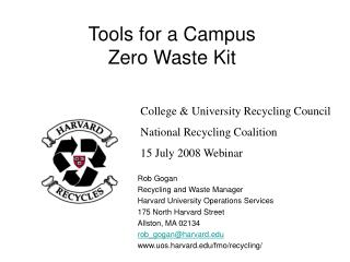 Tools for a Campus  Zero Waste Kit