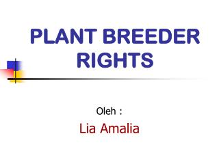 PLANT BREEDER RIGHTS