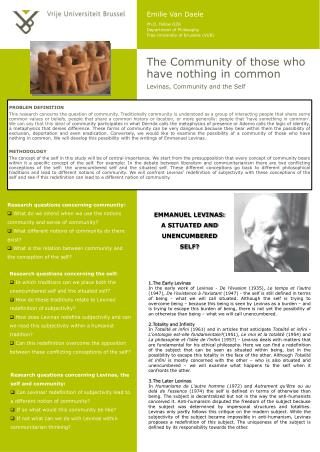 The Community of those who have nothing in common Levinas, Community and the Self