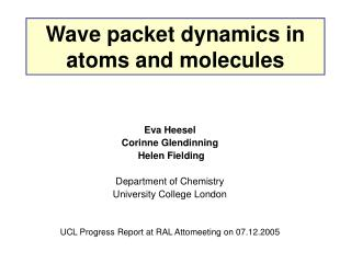 Wave packet dynamics in atoms and molecules