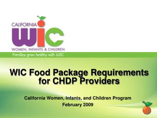 WIC Food Package Requirements for CHDP Providers