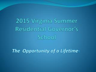 2015 Virginia Summer Residential Governor�s School