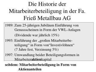 Die Historie der Mitarbeiterbeteiligung in der Fa. Frieß Metallbau AG
