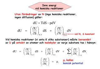Inre energi  vid kemiska reaktioner