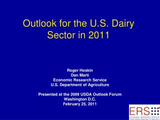 Outlook for the U.S. Dairy Sector in 2011
