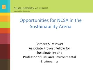 Opportunities for NCSA in the Sustainability Arena