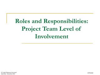 Roles and Responsibilities: Project Team Level of Involvement