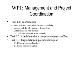 WP1:  Management and Project Coordination