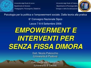 EMPOWERMENT E INTERVENTI PER  SENZA FISSA DIMORA