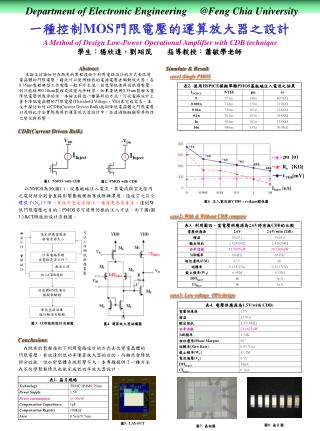 一種控制 MOS 門限電壓的運算放大器之設計  A Method of Design Low-Power Operational Amplifier with CDB technique