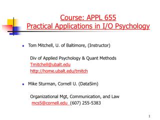 Course: APPL 655  Practical Applications in I/O Psychology