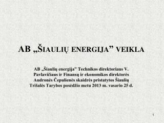 """AB """"Šiaulių energija"""" veikla"""