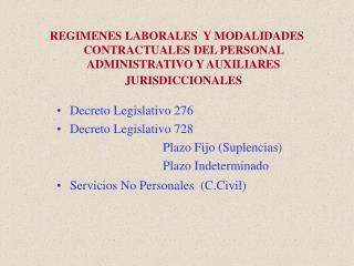 Decreto Legislativo 276 Decreto Legislativo 728    Plazo Fijo (Suplencias)