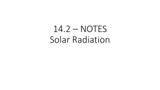 Electromagnetic Spectrum and Solar Radiation