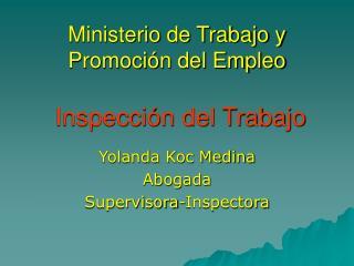 Ministerio de Trabajo y Promoción del Empleo   Inspección del Trabajo