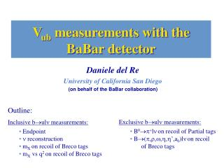 V ub  measurements with the BaBar detector