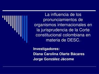 Investigadores:  Diana Carolina Olarte B�cares Jorge Gonz�lez J�come