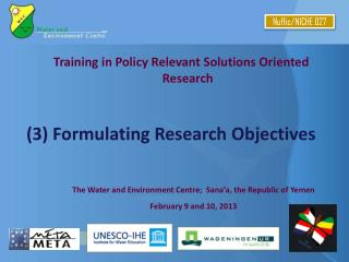 Training in Policy Relevant Solutions Oriented Research