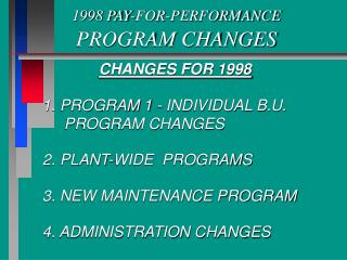 1998 PAY-FOR-PERFORMANCE PROGRAM CHANGES