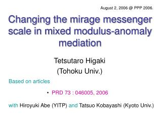 Changing the mirage messenger scale in mixed modulus-anomaly mediation