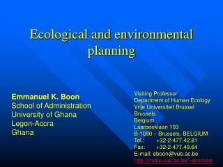 Ecological and environmental planning