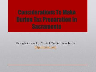 Considerations To Make During Tax Preparation In Sacramento