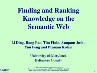 Finding and Ranking Knowledge on the Semantic Web