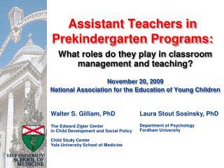 Assistant Teachers in Prekindergarten Programs: