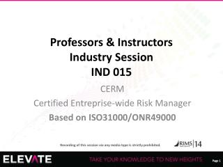 Professors & Instructors Industry Session IND 015