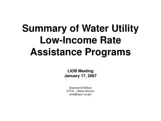 Summary of Water Utility Low-Income Rate Assistance Programs
