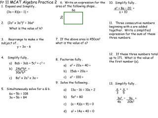 Yr 11 MCAT Algebra Practice 2