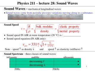 Physics 211 � lecture 28: Sound Waves