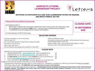 BANKSETA LETSEMA  LEARNERSHIP PROJECT