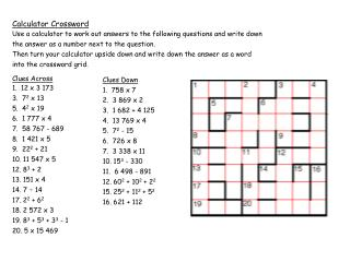 Calculator Crossword