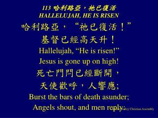113  哈利路亞,祂已復活  HALLELUJAH, HE IS RISEN