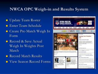 NWCA OPC Weigh-in and Results System