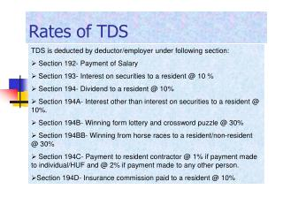 Rates of TDS