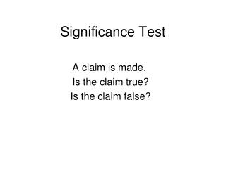 Significance Test