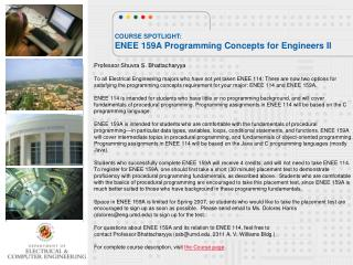COURSE SPOTLIGHT: ENEE 159A Programming Concepts for Engineers II