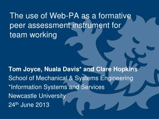 The use of Web-PA as a formative peer assessment instrument for team working