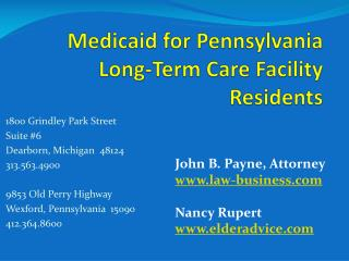Medicaid for Pennsylvania Long-Term Care Facility Residents